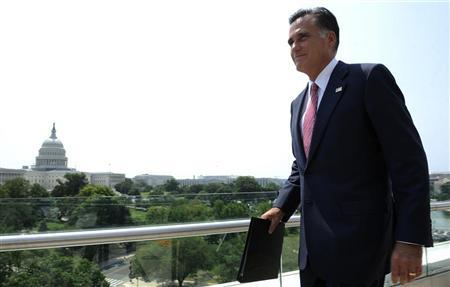 U.S. Republican Presidential candidate Mitt Romney departs after delivering his reaction to the Supreme Court's upholding key parts of President Barack Obama's signature healthcare overhaul law at a rooftop news conference in Washington June 28, 2012. REUTERS/Jonathan Ernst
