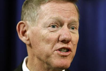 Ford Motor Company President Alan Mulally makes remarks during a news conference after the annual meeting of shareholders in Wilmington, Delaware, May 10, 2012. REUTERS/Tim Shaffer