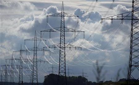 Electric power transmission lines are seen in Neuhof, near Hamburg July 13, 2012. REUTERS/Morris Mac Matzen (GERMANY - Tags: BUSINESS)