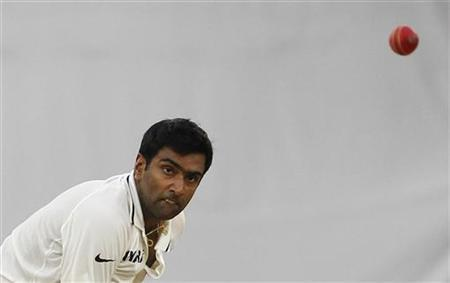Ravichandran Ashwin bowls during the second day of their first test cricket match against New Zealand in Hyderabad, August 24, 2012. REUTERS/Vivek Prakash