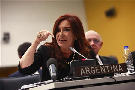 Argentina's President Cristina Fernandez attends a Special Committee on the Situation with regard to the Implementation of the Declaration on the Granting of Independence to Colonial Countries and Peoples at the U.N. headquarters in New York June 14, 2012. REUTERS/Eric Thayer