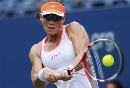 Samantha Stosur of Australia hits a return to Petra Martic of Croatia during their women's singles match at the U.S. Open tennis tournament in New York August 27, 2012. REUTERS/Kevin Lamarque