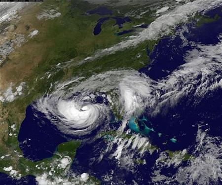 Tropical Storm Isaac is pictured as it approaches landfall in this August 27, 2012 NASA handout satellite image taken at 2125 EDT. REUTERS/NASA/Handout
