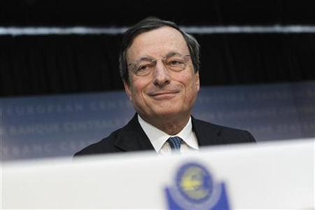 European Central Bank (ECB) President Mario Draghi speaks during the monthly news conference in Frankfurt August 2, 2012. REUTERS/Alex Domanski