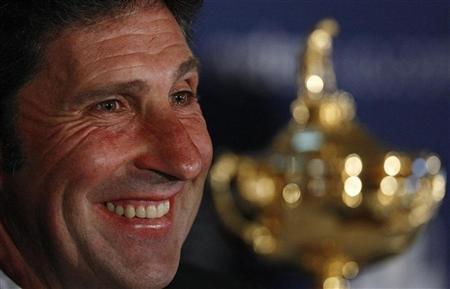 Europe Ryder Cup team captain Jose Maria Olazabal smiles during the 2012 European Ryder Cup team announcement news conference at the Gleneagles Hotel, Scotland August 27, 2012. REUTERS/David Moir