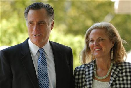 Republican presidential candidate and former Massachusetts Governor Mitt Romney and his wife Ann (R) arrive for services at The Church of Jesus Christ of Latter-Day Saints in Wolfboro, New Hampshire August 26, 2012. REUTERS/Brian Snyder