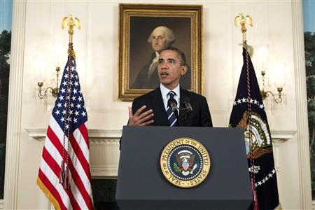 U.S. President Barack Obama delivers remarks about Tropical Storm Isaac in the Diplomatic Room of the White House in Washington August 28, 2012. REUTERS/Joshua Roberts