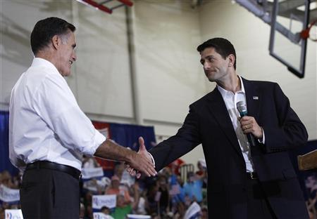 U.S. Republican presidential candidate Mitt Romney (L) shakes hands with his vice presidential running mate, U.S. Congressman Paul Ryan (R-WI) during a campaign event in Ashland, Virginia August 11, 2012. REUTERS/Shannon Stapleton
