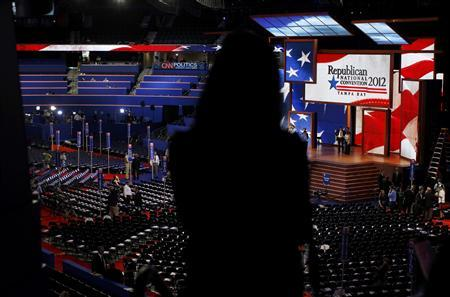 An attendee views the main floor prior to the opening session of the Republican National Convention in Tampa, Florida, August 28, 2012. REUTERS/Shannon Stapleton