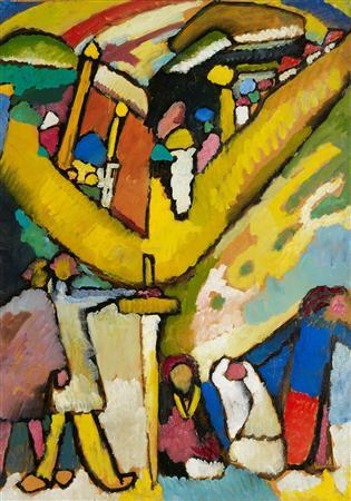 ''Study For Improvisation 8,'' painted in 1909 in Murnau, by Wassily Kandinsky (1866-1944), oil on cardboard laid down on canvas, 38 5/8 x 27 ½ in. (98 x 70 cm.), is seen in this handout photo from Christie's Auction House. REUTERS/CHRISTIE'S IMAGES LTD. 2012/Handout