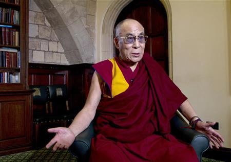 Tibet's exiled spiritual leader the Dalai Lama speaks during an interview in the Houses of Parliament in central London June 20, 2012. REUTERS/Olivia Harris