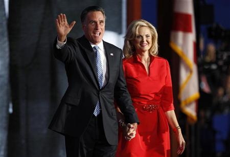 Republican presidential nominee Mitt Romney waves with his wife Ann Romney after she addressed the second session of the Republican National Convention in Tampa, Florida August 28, 2012. REUTERS/Joe Skipper