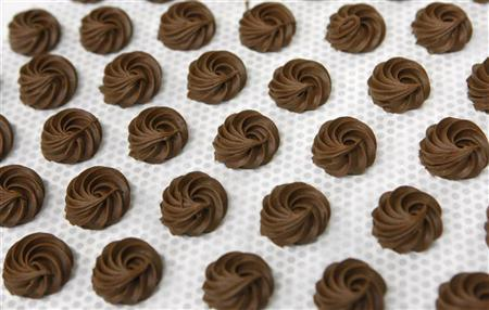 Chocolates are pictured during the opening of the Nestle Chocolate Centre of Excellence in Broc near Fribourg September 7, 2009. REUTERS/Denis Balibouse