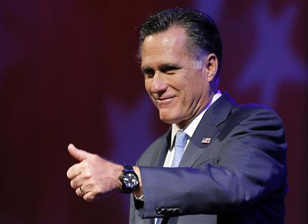 Republican presidential candidate and former Massachusetts Governor Mitt Romney takes the stage to address the American Legion's national convention in Indianapolis, Indiana August 29, 2012. REUTERS/Brian Snyder