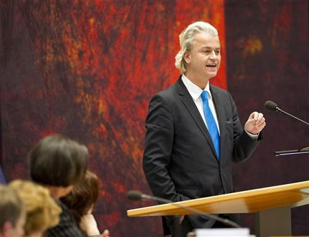 Geert Wilders of the Freedom Party speaks during a debate about the government's resignation caused by a crisis over budget cuts in The Hague April 24, 2012. REUTERS/Paul Vreeker/United Photos