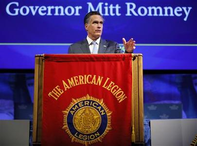 Republican presidential candidate and former Massachusetts Governor Mitt Romney addresses the American Legion's national convention in Indianapolis, Indiana August 29, 2012. REUTERS/Brian Snyder