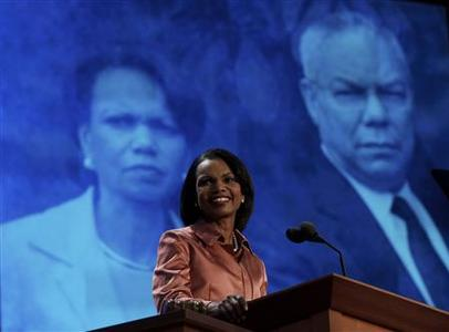 Former U.S. Secretary of State Condoleezza Rice speaks during the third session of the Republican National Convention in Tampa, Florida August 29, 2012. A photograph of Rice alongside another former U.S. Secretary of State, Colin Powell, is on display behind her. REUTERS/Shannon Stapleton