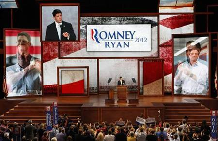 Republican vice presidential nominee Rep. Paul Ryan accepts the nomination as he addresses delegates during the third session of the Republican National Convention in Tampa, Florida, August 29, 2012. REUTERS/Mike Segar