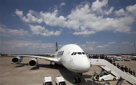 A general view shows the the new Airbus A380-800 ''Berlin'' aircraft during the naming ceremony at Tegel airport in Berlin, May 22, 2012. REUTERS/Fabrizio Bensch