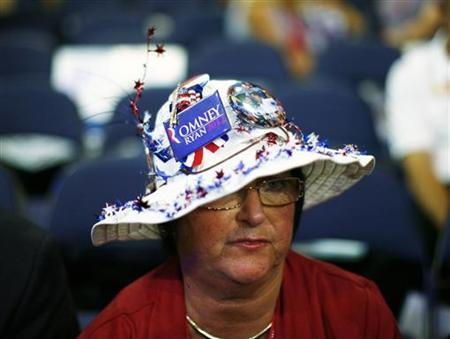 A convention-goer takes part in the third session of the Republican National Convention in Tampa, Florida August 29, 2012. REUTERS/Eric Thayer