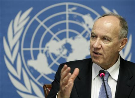 Francis Gurry, Director General of the World Intellectual Property Organisation (WIPO), gestures during a news conference on the International Patent System in 2009 at the United Nations European headquarters in Geneva February 8, 2010. REUTERS/Denis Balibouse
