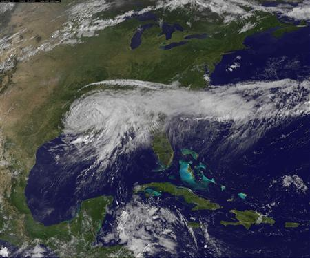 Tropical Storm Isaac is pictured over Louisiana, Mississippi, Alabama and Florida in this August 30, 2012 NASA handout satellite image taken at 1345 GMT. REUTERS/NASA/Handout.