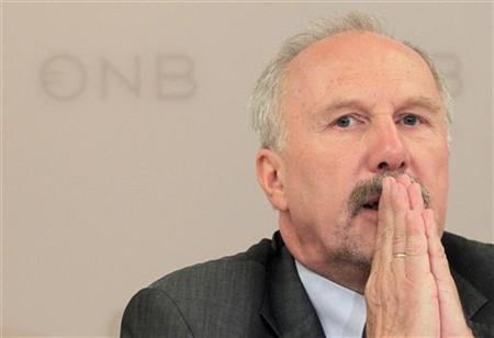 Austrian National Bank governor Ewald Nowotny reacts as he addresses a news conference in Vienna July 2, 2012. REUTERS/Herwig Prammer