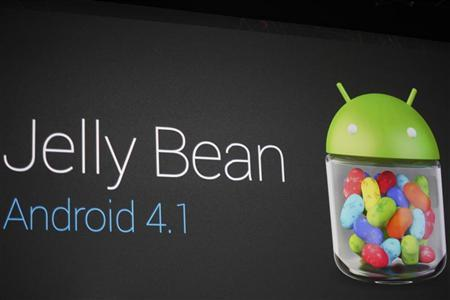 An Android 4.1 ''Jelly Bean'' mobile operating system logo is seen during Google I/O 2012 Conference at Moscone Center in San Francisco, California June 27, 2012. REUTERS/Stephen Lam