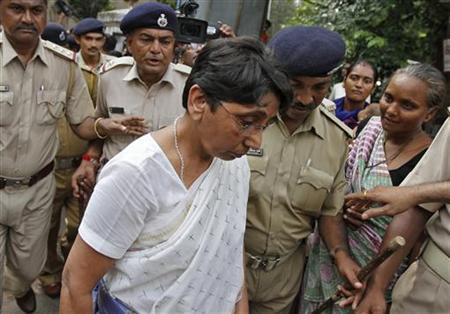 Maya Kodnani, a sitting lawmaker from the state's ruling Bharatiya Janata Party (BJP) and Gujarat minister for women and child development between 2007-2009, arrives at a court in Ahmedabad August 31, 2012. REUTERS/Amit Dave