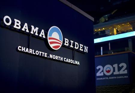 A sign for the campaign of U.S. President Barack Obama is seen during an open house for the public to view the venue for the Democratic National Convention at Time Warner Cable arena in Charlotte, North Carolina August 31, 2012. REUTERS/Chris Keane