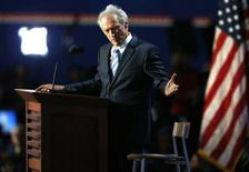 Actor Clint Eastwood addresses an empty chair and questions it as if it is U.S. President Obama, as he endorses Republican presidential nominee Mitt Romney during the final session of the Republican National Convention in Tampa, Florida, August 30, 2012. REUTERS/Jason Reed