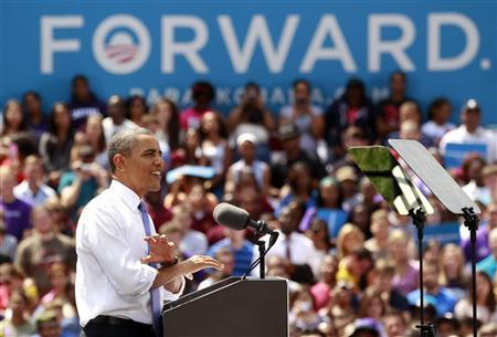 U.S. President Barack Obama speaks during a campaign event at Capital University in Columbus, Ohio August 21, 2012. Obama is on a two-day campaign trip to Ohio, Nevada and New York. REUTERS/Kevin Lamarque
