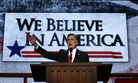 Republican presidential nominee Mitt Romney accepts the nomination during the final session of the Republican National Convention in Tampa, Florida, August 30, 2012. REUTERS/Adrees Latif