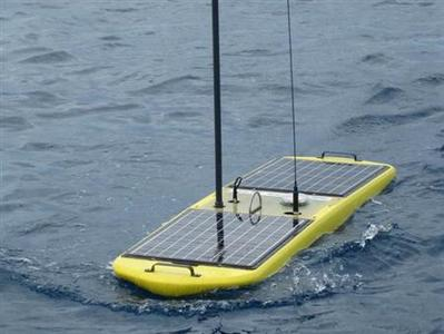 A Wave Glider, a floating platform of sensors with an underwater stabilizers, is seen in this undated handout photo courtesy of Liquid Robotics. REUTERS/Liquid Robotics/Handout
