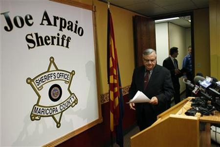 Maricopa County Sheriff Joe Arpaio arrives to a news conference in Phoenix, Arizona May 10, 2012. REUTERS/Joshua Lott