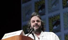 "Director Peter Jackson speaks during a panel for ""The Hobbit: An Unexpected Journey"" during the Comic Con International convention in San Diego, California July 14, 2012. REUTERS/Mario Anzuoni"