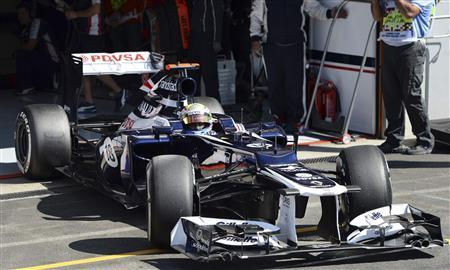 Williams Formula One driver Pastor Maldonado of Venezuela leaves the pit during the qualifying session of the Belgian F1 Grand Prix in Spa Francorchamps September 1, 2012. REUTERS/Dimitar Dilkoff/Pool