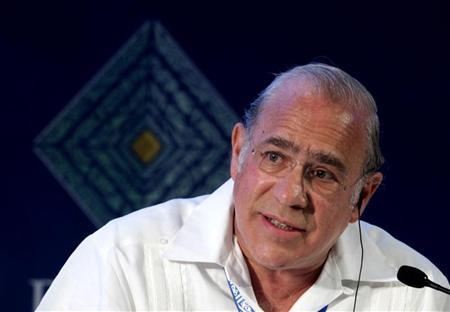 Jose Angel Gurria, secretary general of the Organisation for Economic Co-operation Development attends a panel during a B20 meeting prior to the G20 summit in Los Cabos June 17, 2012. REUTERS/Andres Stapff