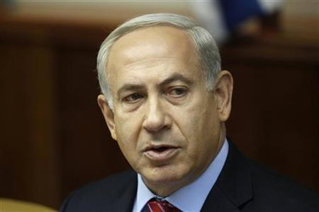 Israel's Prime Minister Benjamin Netanyahu attends the weekly cabinet meeting in Jerusalem September 2, 2012. Netanyahu urged world powers on Sunday to set a ''clear red line'' for Tehran's atomic activities and said they had failed to convince it of their resolve to prevent a nuclear-armed Iran. REUTERS/Baz Ratner