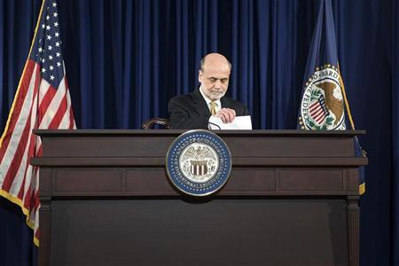 U.S. Federal Reserve Chairman Ben Bernanke arrives for a news conference at the Federal Reserve in Washington, June 20, 2012. REUTERS/Jonathan Ernst