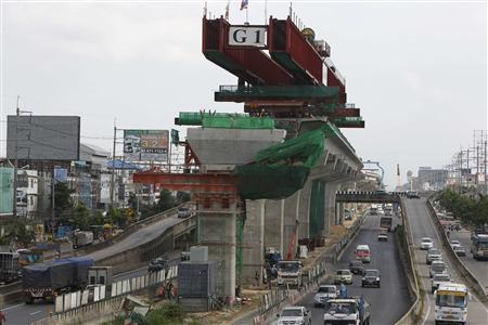 A Bangkok Mass Transit System (BTS) skytrain station is pictured under construction on the outskirts of Bangkok August 28, 2012. REUTERS/Sukree Sukplang