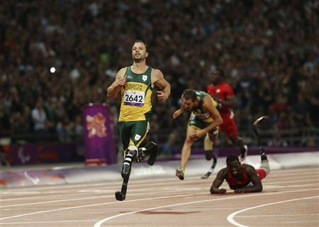 South Africa's Oscar Pistorius crosses the finish line in second place during the men's 200m T44 classification at the Olympic Stadium during the London 2012 Paralympic Games September 2, 2012. REUTERS/Olivia Harris