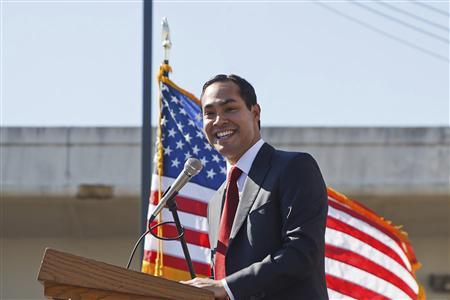 San Antonio Mayor Julian Castro gives an address at City College in San Antonio in this handout photo courtesy of Mayour Julian Castro's office February 13, 2011. REUTERS/Mayor Julian Castro's office/Handout