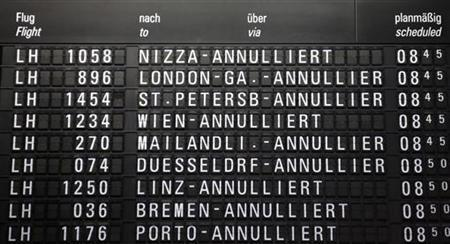 A flight schedule board shows cancelled flights of German air carrier Lufthansa at the Fraport airport in Frankfurt August 31, 2012. REUTERS/Kai Pfaffenbach