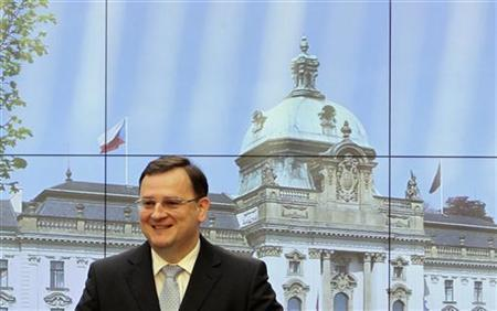 Czech Prime Minister Petr Necas smiles during a news conference at the government headquarters in Prague April 18, 2012. REUTERS/David W Cerny