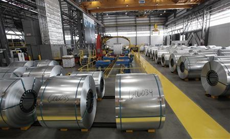 Steel coils wait to be shrink wrapped and shipped to customers at the Severstal steel mill in Dearborn, Michigan June 21, 2012. REUTERS/Rebecca Cook