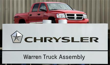 A Chrysler Warren Truck Assembly sign is seen in front of an auto plant with a Dodge Ram pick-up truck on display in Warren, Michigan in this file photo taken April 29, 2009. REUTERS/Rebecca Cook/Files