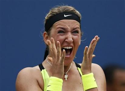 Victoria Azarenka of Belarus celebrates after defeating Samantha Stosur of Australia in their women's singles quarterfinals match at the U.S. Open tennis tournament in New York September 4, 2012. REUTERS/Eduardo Munoz