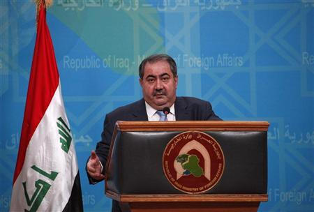 Iraq's Foreign Minister Hoshiyar Zebari speaks during a news conference in the headquarters of the foreign ministry in Baghdad, July 5, 2012. REUTERS/Saad Shalash