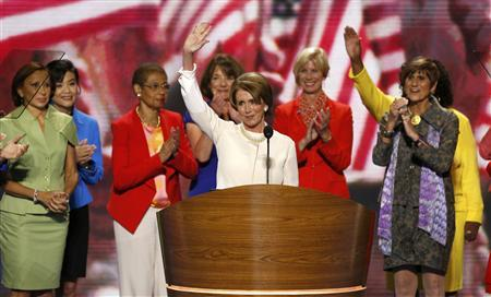U.S. House Minority Leader Nancy Pelosi (D-CA) (C) appears onstage with other female Democratic members of the U.S. House of Representatives including (L-R) Rep. Nydia Velazquez (D-NY), Rep. Judy Chu (D-CA), Rep. Eleanor Holmes Norton (D-DC), Rep. Kathy Hochul (D-NY), Rep. Janice Hahn (D-CA) and Rep. Rosa DeLauro (D-CT), during the opening session of the Democratic National Convention in Charlotte, September 4, 2012. REUTERS/Jason Reed